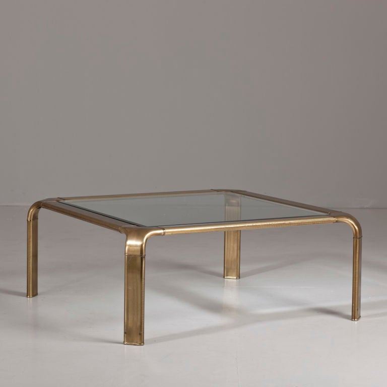 A Square Brass Coffee Table With Glass Top At 1stdibs