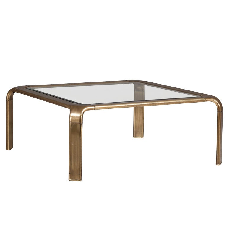 Square brass coffee table with glass top at 1stdibs