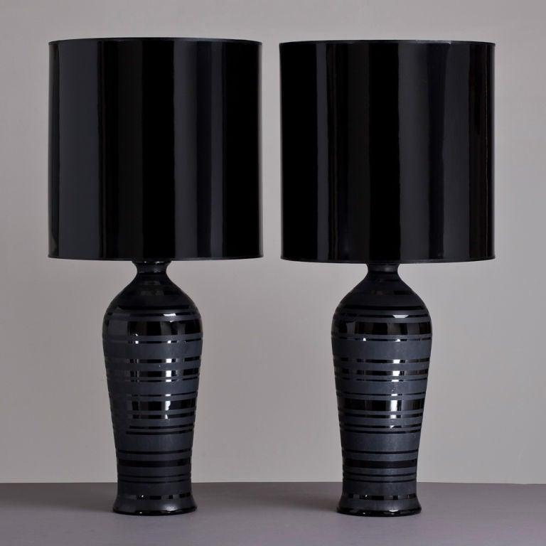 Single Black Ceramic Table Lamp With Black Patent Shade
