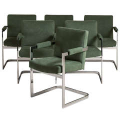Set of Six Nickel-Plated Cantilever Armchairs, 1970s