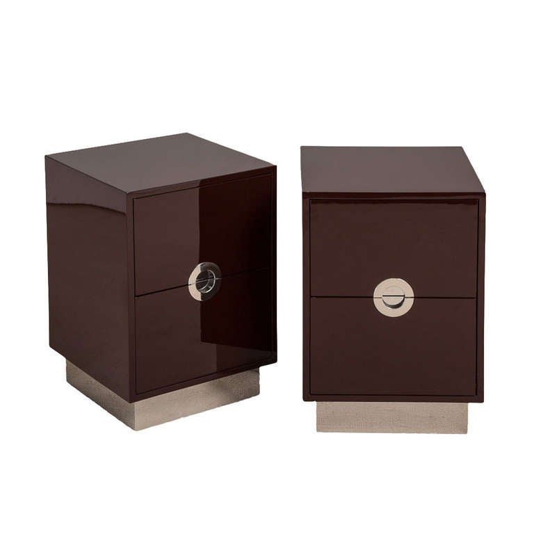 Pair of Two-Drawer Lacquered Bedside Cabinets by Talisman