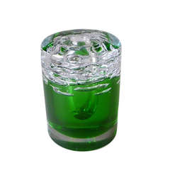 Heavy Green and Clear Fused Single Stem Glass Vase