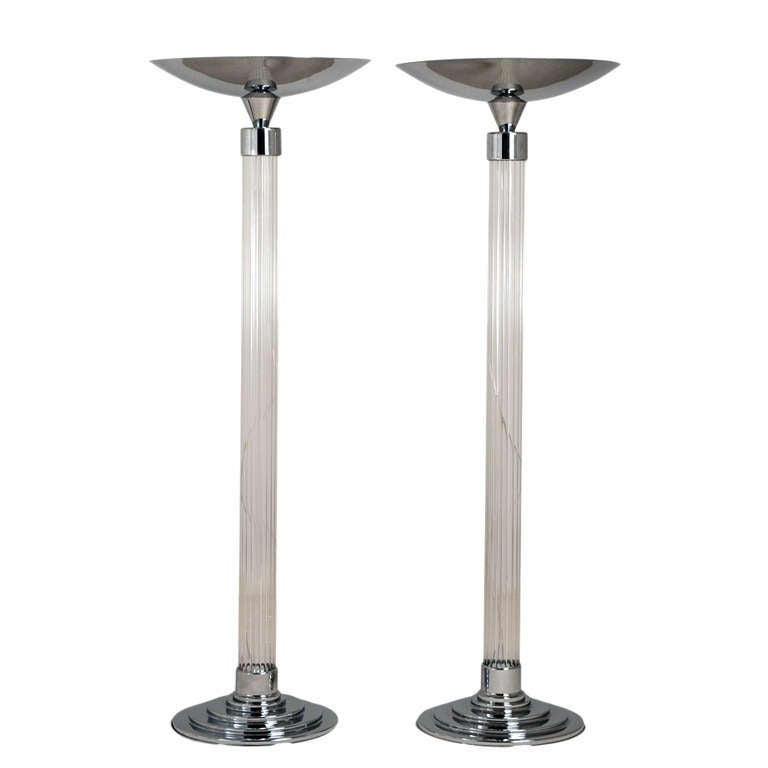 A pair of deco style uplighter floor lamps at 1stdibs for Floor uplighters