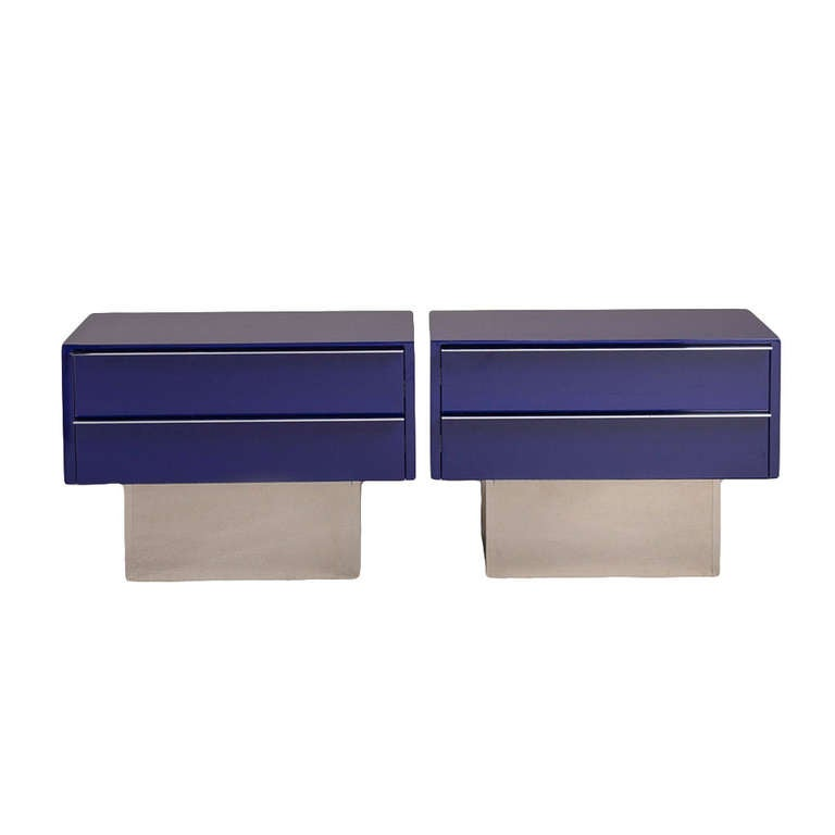 Pair of Two-Drawer Lacquered and Steel Side Cabinets 1970s 1