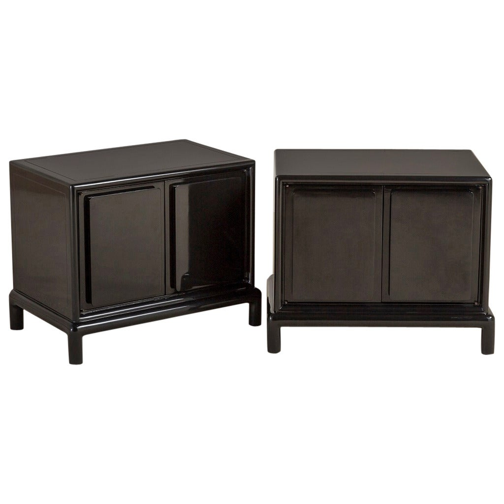 Pair Of Asian Modern Jet Black Lacquer Side Cabinets