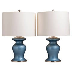 Pair of Pearlescent Blue Glass Table Lamps, 1960s