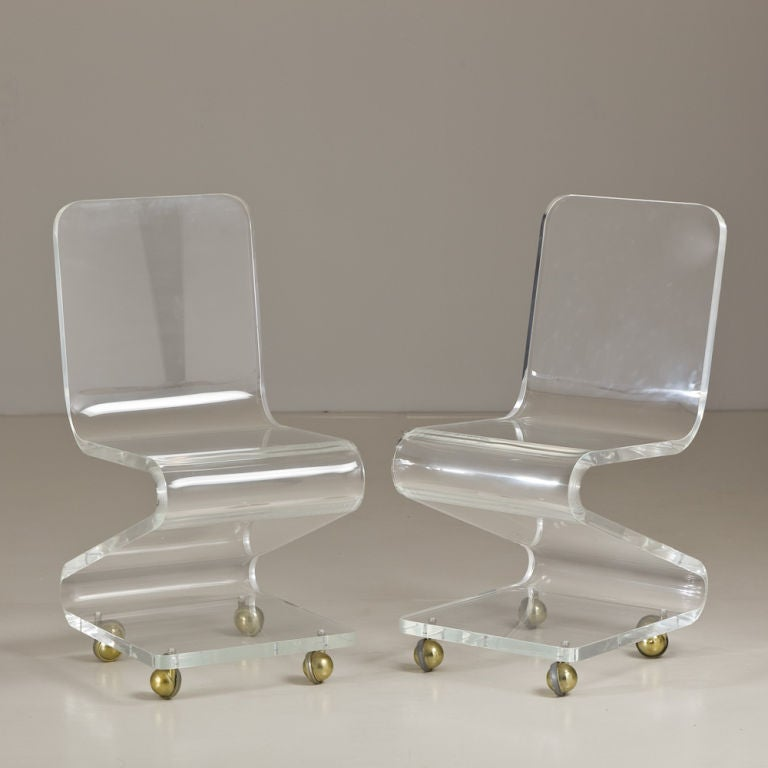 Shaped Chairs: A Single Lucite Z-Shaped Chair On Brass Wheels At 1stdibs