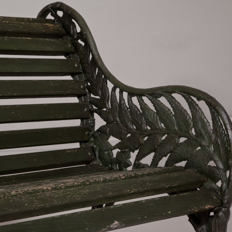 A Victorian Garden Bench With Cast Iron Ends In A Fern Pattern At 1stdibs