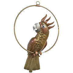 A  Brass and Copper Cockatoo by Sergio Bustamante 1960s