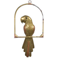 A Tarnished Brass Parrot by Sergio Bustamante 1960s