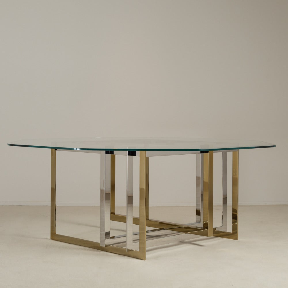 Contemporary brass and stainless steel octagonal dining for Stainless steel dining table