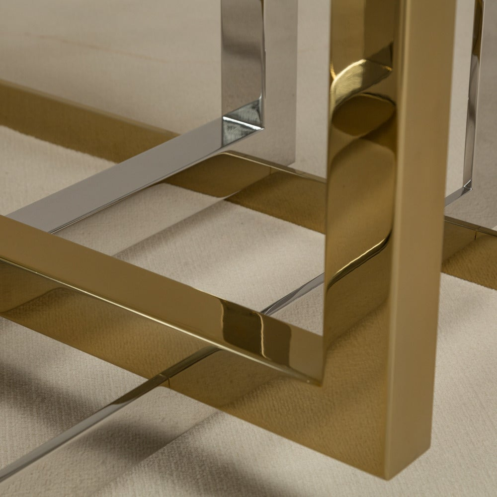 contemporary brass and stainless steel octagonal dining