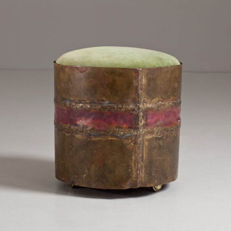 A 1960s Small Brutalist Style Stool With Pale Green Velvet