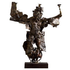 Large Sculpted Brutalist Metal Figurative Candelabra, 1970s