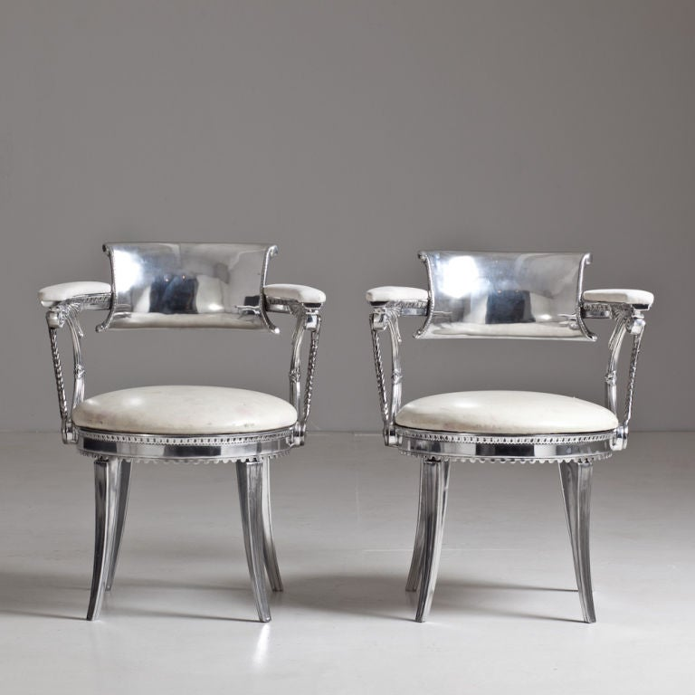 A Rare Pair Of Custom Made 1950s Dorothy Draper Designed Cast Aluminium  Chairs From The Fairmount
