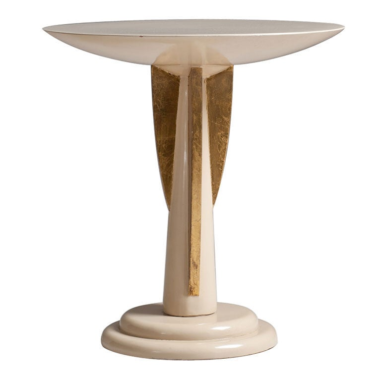small gold side table a small occasional table in ivory lacquer with gold detail