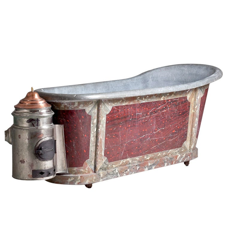 An early 19th century portable zinc bath at 1stdibs for Furniture and fixtures