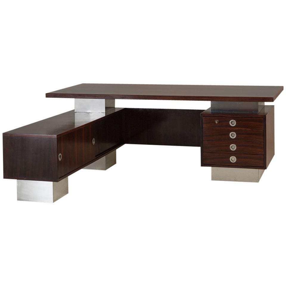 Rosewood And Chrome Danish Modern Executive Desk 1960s At