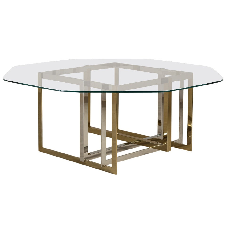 Contemporary Brass and Stainless Steel Octagonal Dining  : 2229632 1 from www.1stdibs.com size 960 x 960 jpeg 45kB