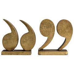 Rare Pair of Quotation Mark Bookends by Curtis Jere, 1969