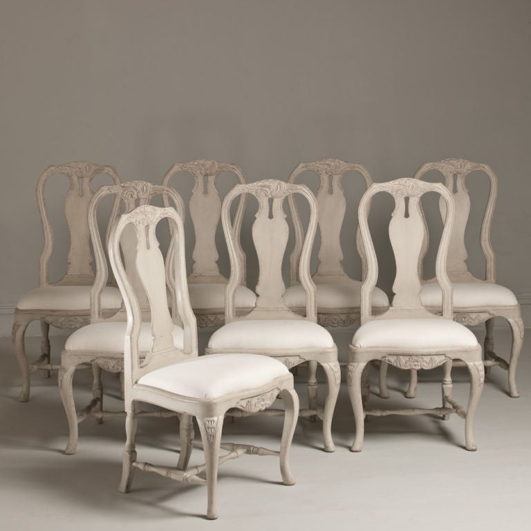 A set of 6 swedish rococo style dining chairs at 1stdibs for Swedish style dining chairs