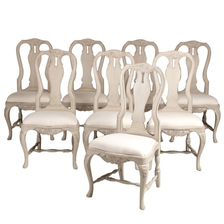 A Set Of 6 Swedish Rococo Style Dining Chairs At 1stdibs