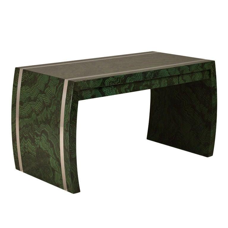 A Faux Malachite Waterfall Style Desk 1970s at 1stdibs