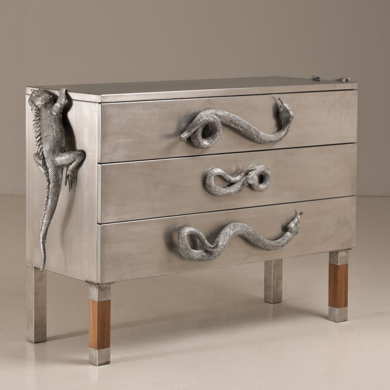 A Three Drawer Commode by Christian Maas Surmounted by Cast Aluminium Snakes and Iguanas 2011