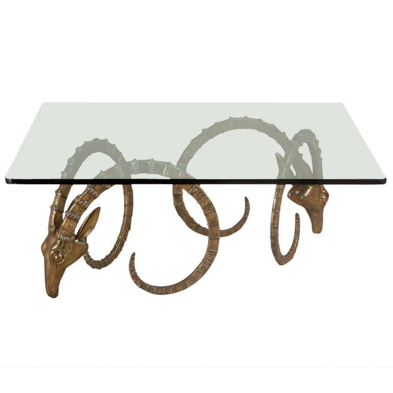 A Pair Of Brass Rams Head Coffee Table Bases After Chervet