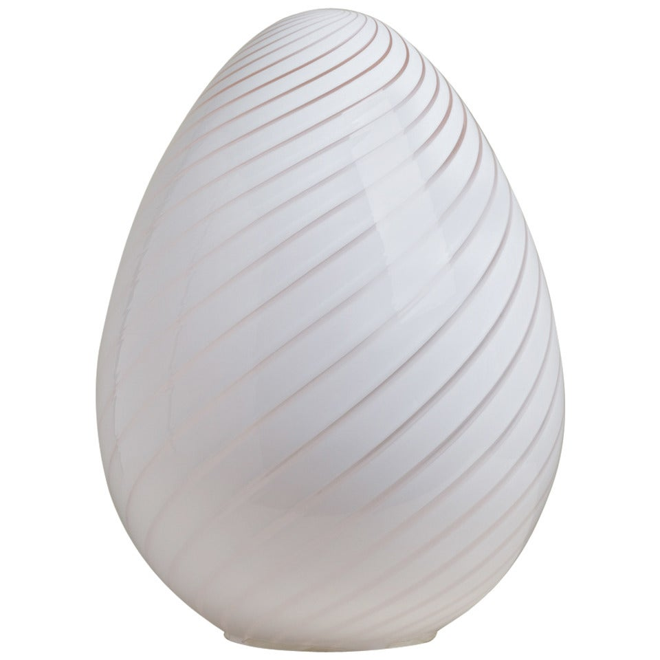 Large Egg Shaped Murano Glass Sculptural Lamp 1960s At