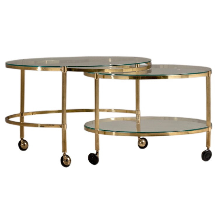A Two Tiered Brass Framed Swivel Extending Coffee Table At 1stdibs
