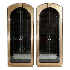 Pair of 1970s Brass Framed Glazed Display Cabinets