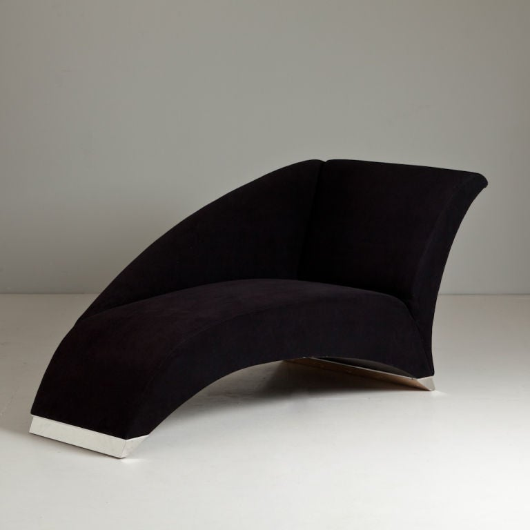 1980s black upholstered chaise longue for sale at 1stdibs for Chaise longue london