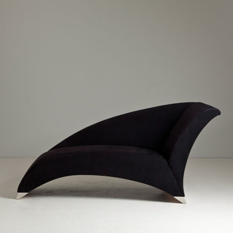 1980s black upholstered chaise longue for sale at 1stdibs for Chaise longue black