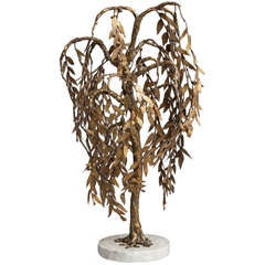 A Small Gilt Bronze Tree Sculpture on Marble Base 1970s