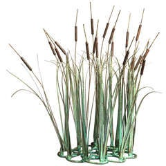 A Superb Metal Bullrushes Table Sculpture by Max Howard