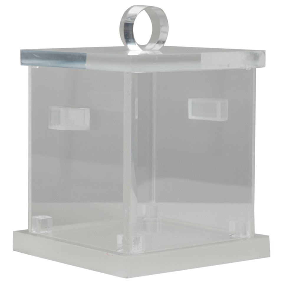 Square, Cloudy Lucite Ice Bucket with Removable Top, 1970s