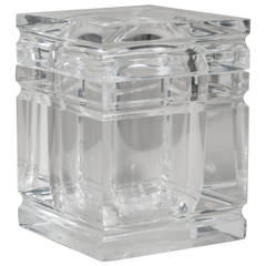 Lucite Ice Bucket with Incised Detail, 1970s
