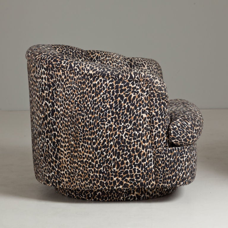 A Pair Of Leopard Print Upholstered Swivel Chairs 1970s At