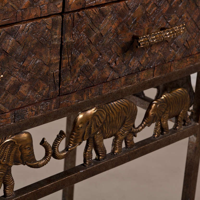 A Maitland Smith Cocktail Bar with Bronze Elephant Mounts 1970s image 5