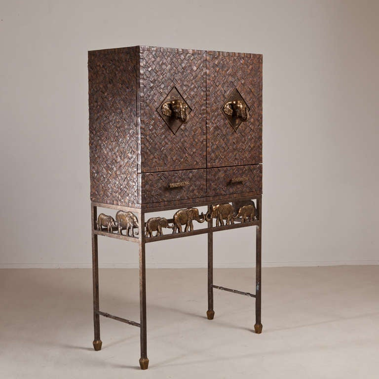A Maitland Smith Cocktail Bar with Bronze Elephant Mounts 1970s image 2
