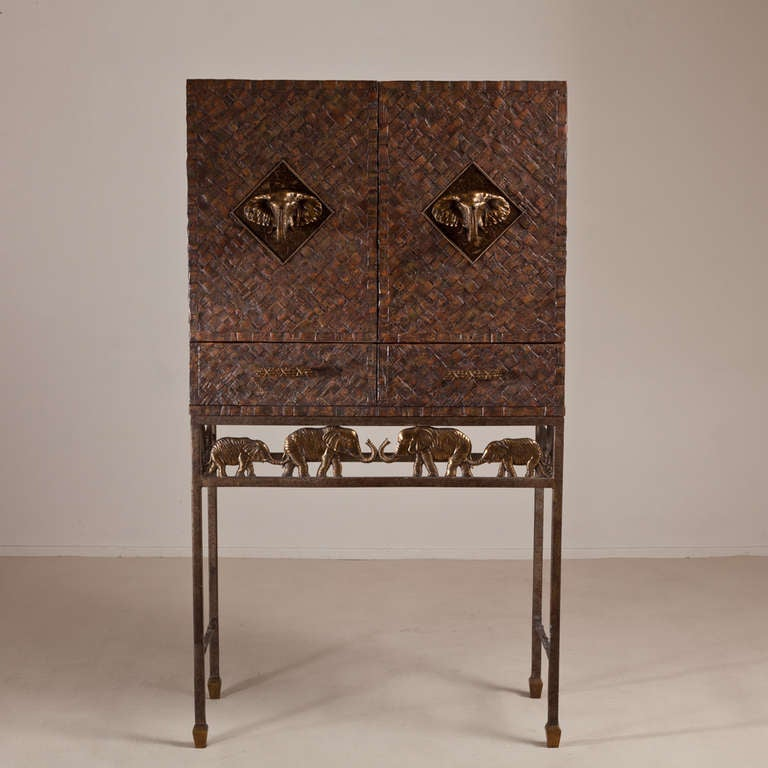 A Maitland Smith Cocktail Bar with Bronze Elephant Mounts 1970s image 3