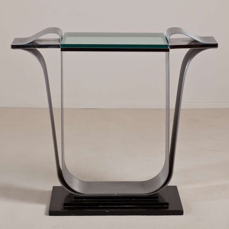 Jay Spectre Steel Console Table with Glass Top, 1980s In Good Condition For Sale In London, GB