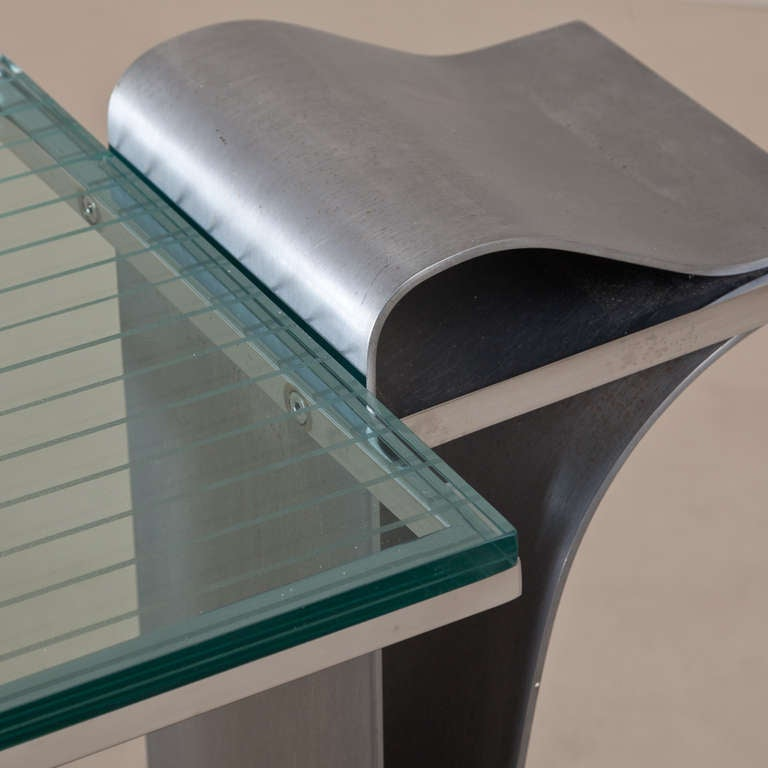 20th Century Jay Spectre Steel Console Table with Glass Top, 1980s For Sale