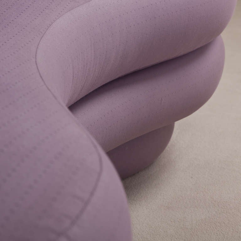 A Curved Vladimir Kagan Style Sofa 1980s 7
