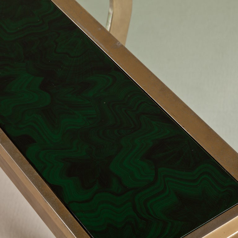 A Brass And Glass Desk With Faux Malachite Sides 1980s At