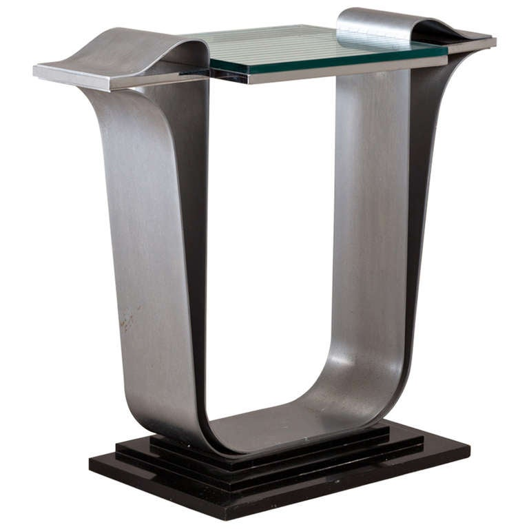 Jay Spectre Steel Console Table with Glass Top, 1980s For Sale