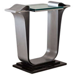 Jay Spectre Steel Console Table with Glass Top, 1980s