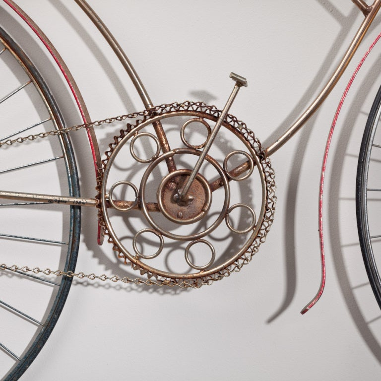A Large Curtis Jere Metal Bicycle Wall Sculpture USA 1970s 2