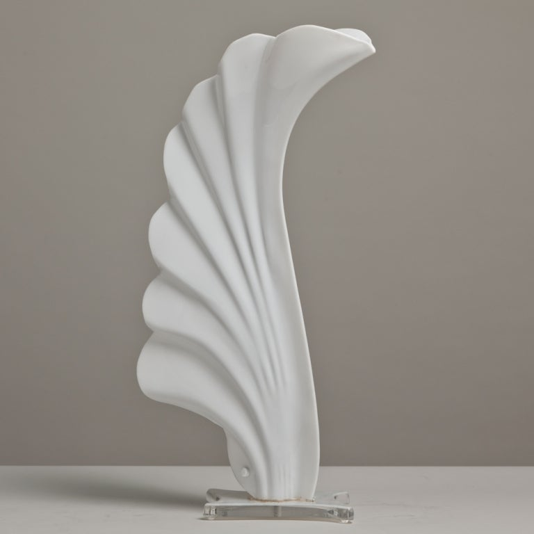 A Large Rougier Shell Shaped Table Lamp Canada late 1970s 2
